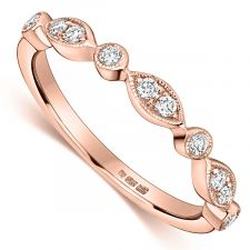 18ct Rose Gold Vintage Style Diamond Ring 0.12ct