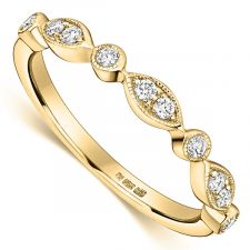18ct Yellow Gold Vintage Style Diamond Ring 0.12ct