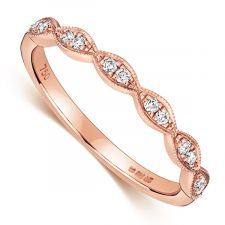 18ct Rose Gold Vintage Style Wedding Ring 0.11ct