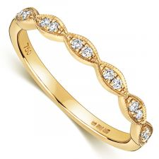 18ct Yellow Gold Vintage Style Wedding Ring 0.11ct