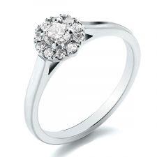 Palladium 950 Diamond Halo Engagement Ring 0.40ct