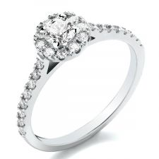 9ct Yellow Gold Diamond Halo & Diamond Shoulders Engagement Ring 0.64ct