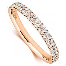 18ct Rose Gold Two Row Diamond Micro Set Ring 0.28ct