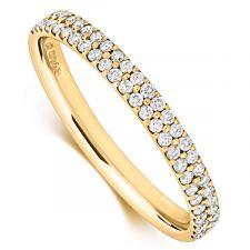 9ct Yellow Gold Two Row Diamond Micro Set Ring 0.28ct