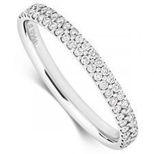 18ct White Gold Two Row Diamond Micro Set Ring 0.28ct