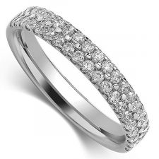 3.2mm 2 Row Micro Set Diamond Ring 0.50ct - 1.00ct