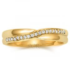 18ct Yellow Gold 3.8mm Diamond Shaped Wedding Ring 0.10ct