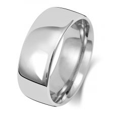 18ct White Gold Slight Court8mm Wedding Ring WQ18WM