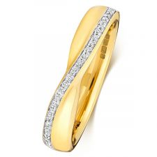 9ct Yellow Gold Crossover Diamond Ring 0.09ct
