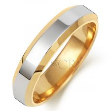 2 Colour Chamfered Edge Wedding Ring