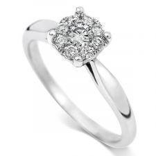 Starburst Diamond Cluster Ring