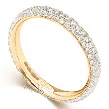 18ct Yellow Gold 3 Row Diamond Full Set Eternity Ring