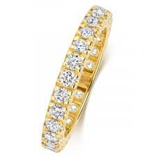 18ct Yellow Gold 2.5mm Full Set Diamond Ring 0.60ct