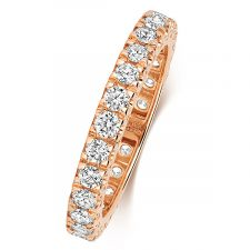 18ct Rose Gold 2.5mm Full Set Diamond Ring 0.60ct