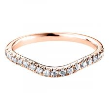 18ct Rose Gold Curved Micro Set Diamond Ring 0.29ct