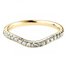 18ct Yellow Gold Curved Micro Set Diamond Ring 0.29ct