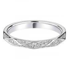9ct White Gold Geometric Diamond Ring 0.13ct