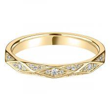 9ct Yellow Gold Geometric Diamond Ring 0.13ct