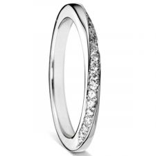 9ct White Gold 2mm Twisted Diamond Ring 0.13ct